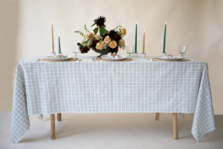 open plaid green table