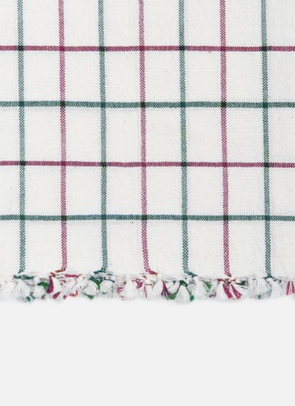 Lattice Crimson Tea Towel Knotted Edge