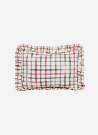 red and blue striped pillow with ruffle