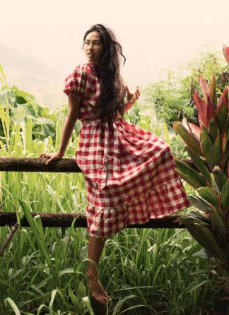 HTH x Dôen GINGHAM CHERRY - Rhone Dress