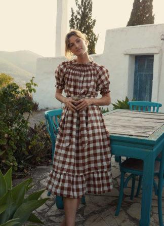 HTH x Dôen GINGHAM NUTMEG - Rhone Dress