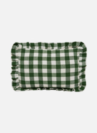 SMALL GREEN CHECKED PILLOW