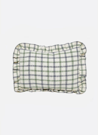 SMALL PILLOW WITH GREEN AND NAVY CROSSED STRIPES