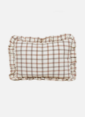 small pillow with tonal brown crossed stripes