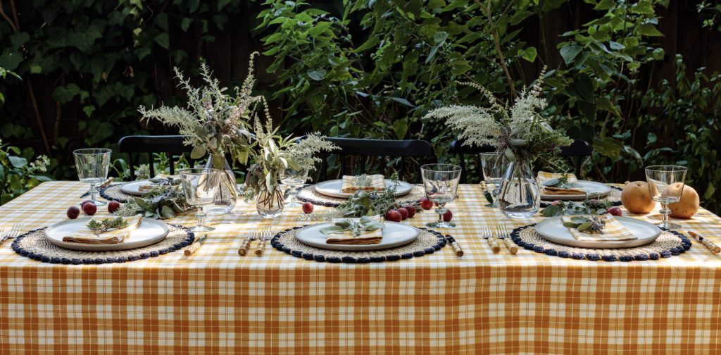 long table with golden tablecloth