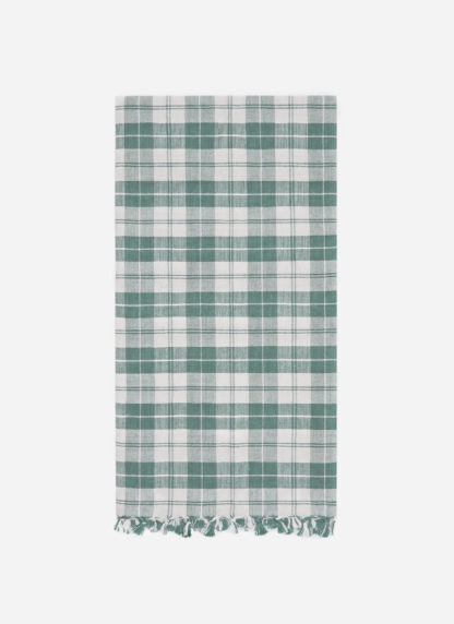 light green plaid dish towel