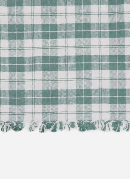 close up of light green plaid