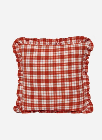Brick colored plaid pillow