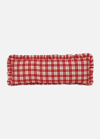 Brick colored plaid long pillow