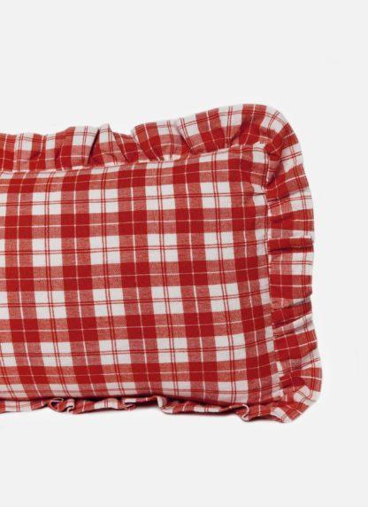 Brick colored plaid long pillow