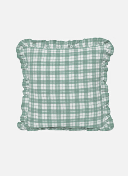 sage plaid ruffle pillow