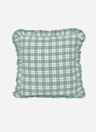 sage plaid ruffle pillow
