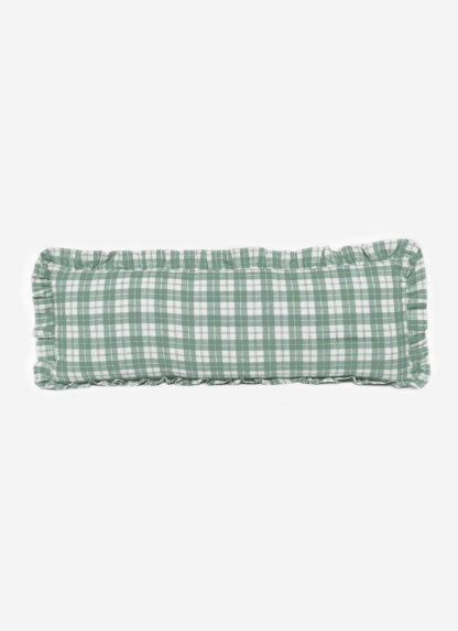 sage plaid long ruffle pillow