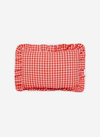 MINI GINGHAM ELECTRIC ORANGE PETITE PILLOW