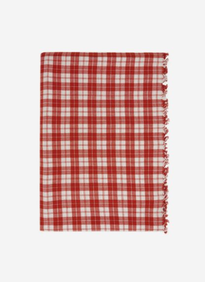 brick red plaid tablecloth