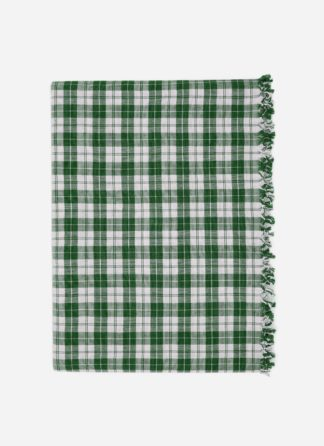 Hunter green plaid tablecloth