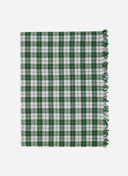 Hunter green plaid tablecloth