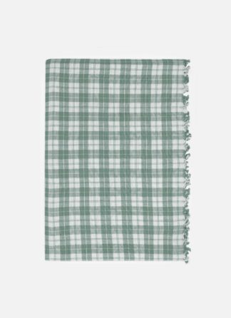 Light sage plaid tablecloth