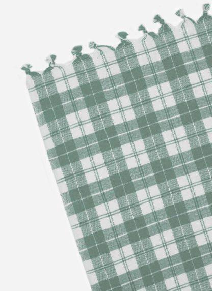 Light sage plaid tablecloth