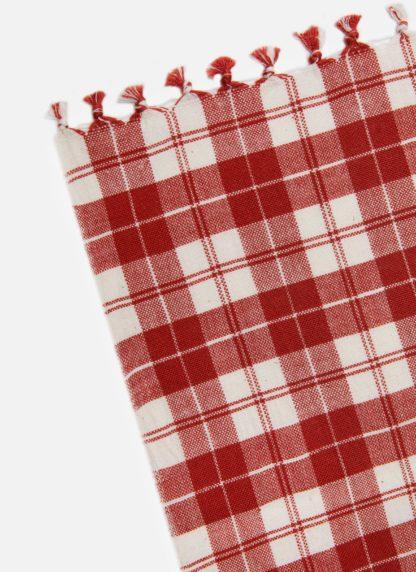 BRICK RED PLAID TEA TOWEL