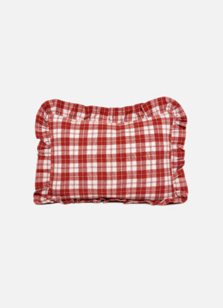 BRICK RED PLAID PILLOW W RUFFLE
