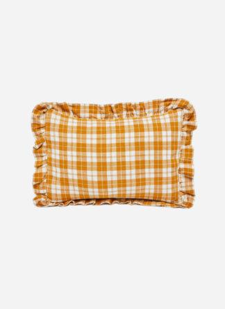 petite pillow in golden plaid