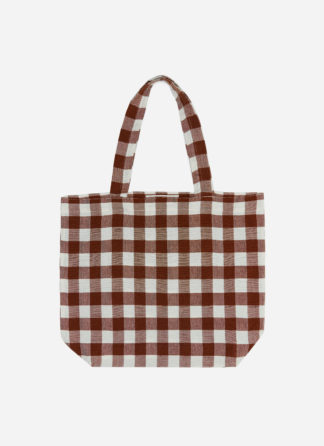 GINGHAM NUTMEG HTH TOTE BAG