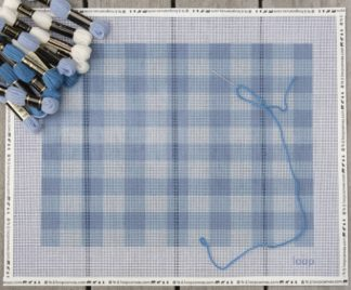 DENIM GINGHAM NEEDLEPOINT PILOW