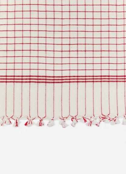 FRENCH LATTICE RED TEA TOWEL