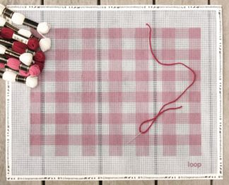 CHERRY GINGHAM NEEDLEPOINT PILOW