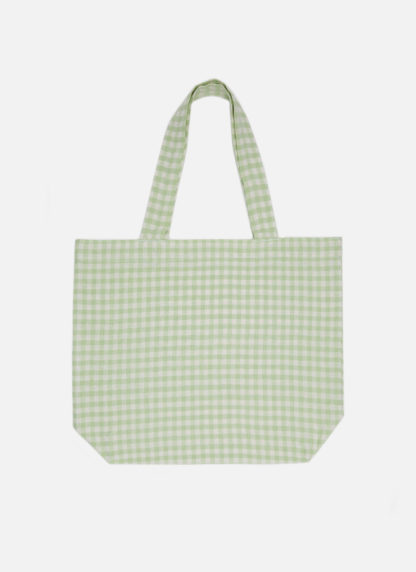 Tote bag in gingham honeydew on white background