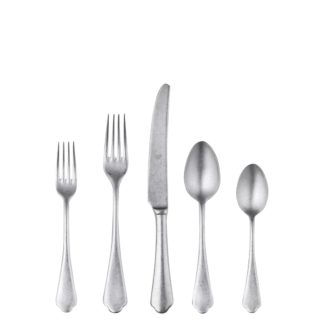 Enhance your dining experience with this beautiful Italian flatware! The special Vintage Process gives to the surface of Stainless Steel a rustic, warm and elegant appearance; yet the product is inoxidable, dishwasher safe, durable and food safe. The production process is not galvanic and do not produce pollution.