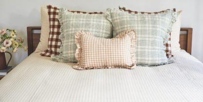 Gingham Bedding Ruffle Pillows