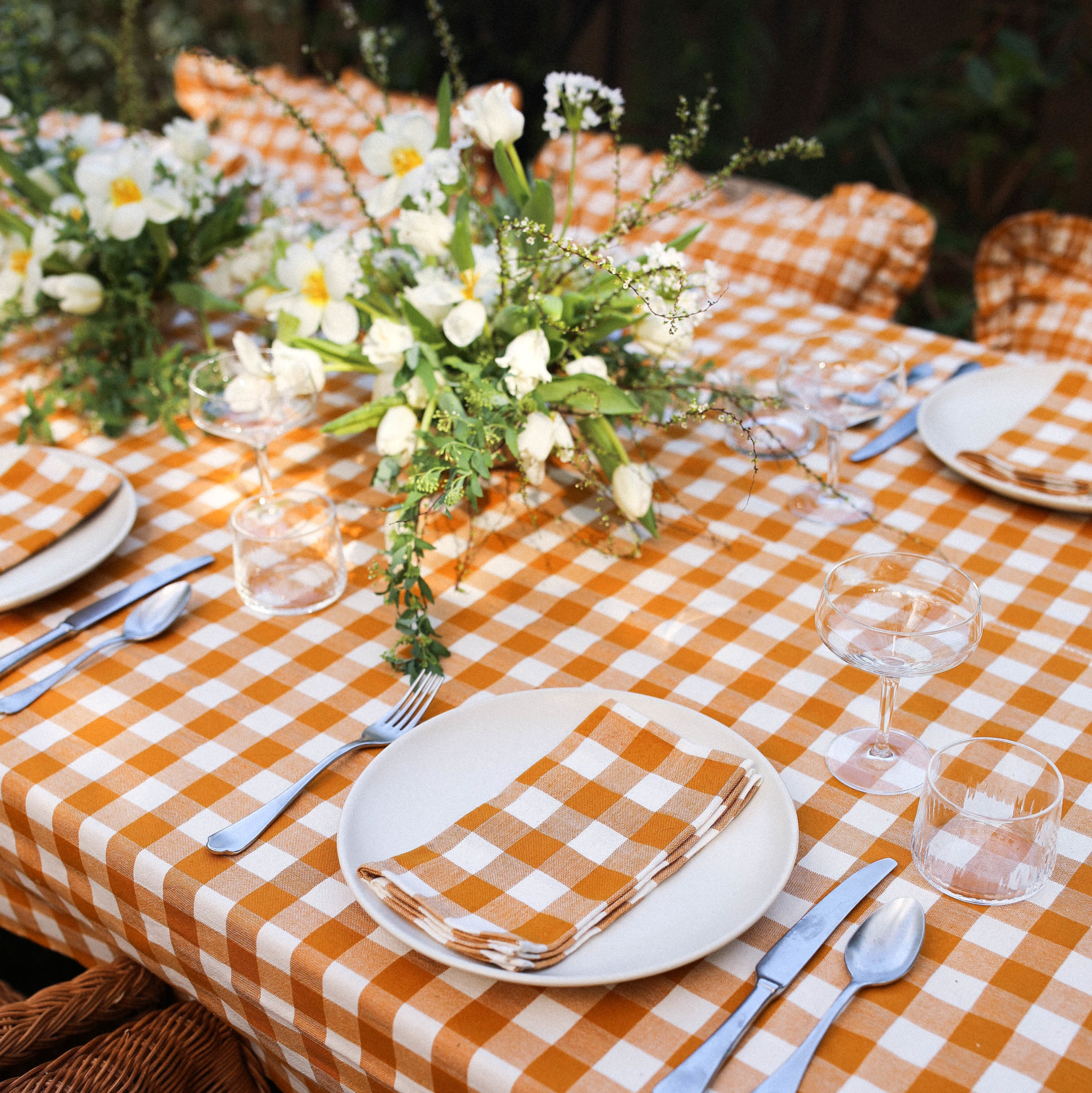 gingham goldenrod tablecloth and napkins